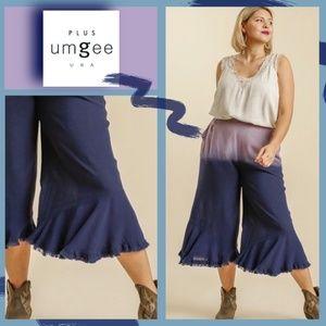 Umgee Dip Die Wide Leg Pant Ruffle Raw Hem Pockets
